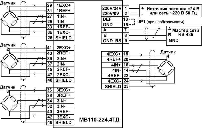 Подключение к МВ110-224.4ТД